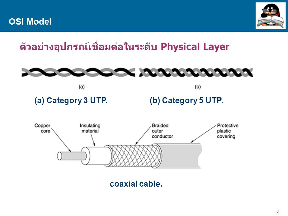 14 Proprietary and Confidential to Accenture OSI Model ตัวอย่างอุปกรณ์เชื่อมต่อในระดับ Physical Layer (a) Category 3 UTP. (b) Category 5 UTP. coaxial