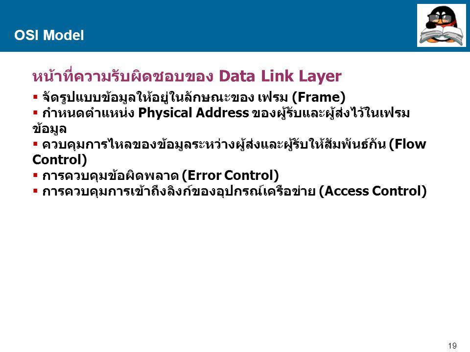 20 Proprietary and Confidential to Accenture OSI Model Data link Layer Data Link Layer แบ่งย่อยออกเป็น 2 ชั้น ภายในคือ Logical Link Control (LLC) Media Access Control (MAC) Logical Link Control (LLC) – ดูแลในส่วนของการติดต่อกับ Layer ที่อยู่สูงกว่าคือ Network Layer ซึ่งจะคอยบริหารจัดการ การติดต่อกับ Physical Layer ที่ต้องมีการใช้งานร่วมกัน