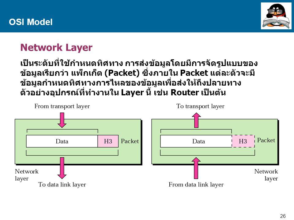 26 Proprietary and Confidential to Accenture OSI Model Network Layer เป็นระดับที่ใช้กำหนดทิศทาง การส่งข้อมูลโดยมีการจัดรูปแบบของ ข้อมูลเรียกว่า แพ็กเก็ต (Packet) ซึ่งภายใน Packet แต่ละตัวจะมี ข้อมูลกำหนดทิศทางการไหลของข้อมูลเพื่อส่งให้ถึงปลายทาง ตัวอย่างอุปกรณ์ที่ทำงานใน Layer นี้ เช่น Router เป็นต้น