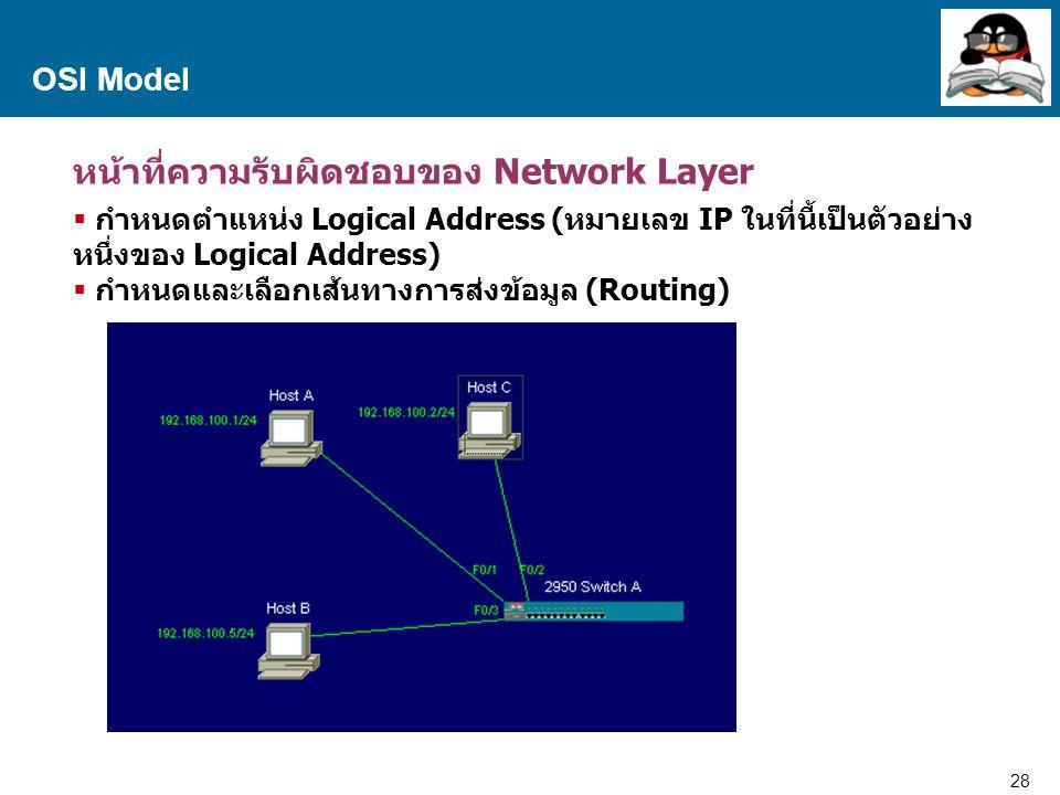 28 Proprietary and Confidential to Accenture OSI Model หน้าที่ความรับผิดชอบของ Network Layer  กำหนดตำแหน่ง Logical Address (หมายเลข IP ในที่นี้เป็นตัวอย่าง หนึ่งของ Logical Address)  กำหนดและเลือกเส้นทางการส่งข้อมูล (Routing)