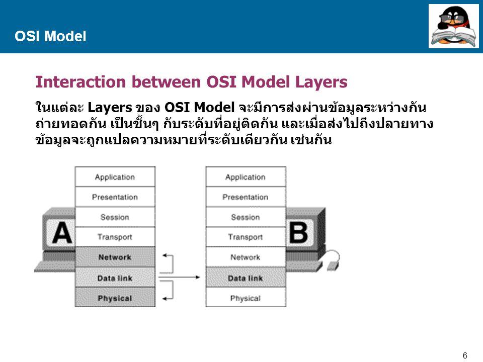 6 Proprietary and Confidential to Accenture OSI Model Interaction between OSI Model Layers ในแต่ละ Layers ของ OSI Model จะมีการส่งผ่านข้อมูลระหว่างกัน ถ่ายทอดกัน เป็นชั้นๆ กับระดับที่อยู่ติดกัน และเมื่อส่งไปถึงปลายทาง ข้อมูลจะถูกแปลความหมายที่ระดับเดียวกัน เช่นกัน