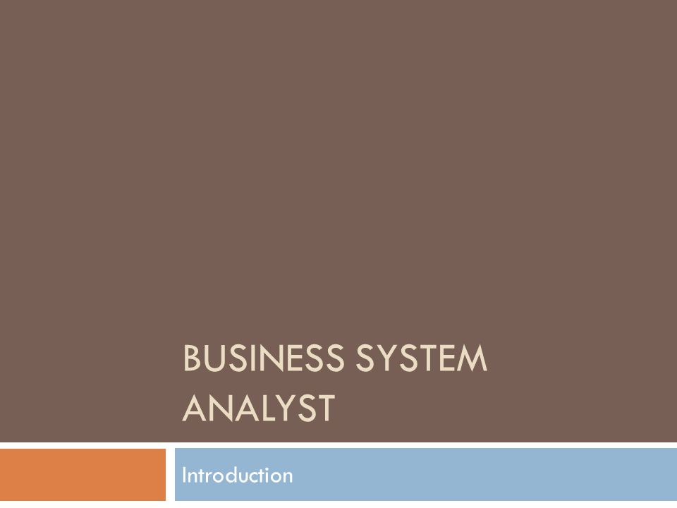 BUSINESS SYSTEM ANALYST Introduction