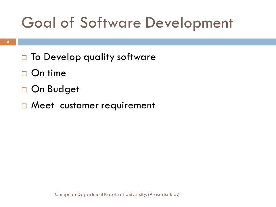 Software Lifecycle  Spiral Model Computer Department Kasetsart University. (Prasertsak U.) 15