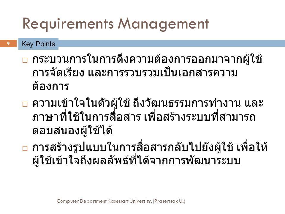 Software Team  การจะจัดการ requirement ให้มีประสิทธิภาพ สามารถทำได้ดีถ้ามีการจัดตั้งทีมงานที่ดี  ทุกคนในทีมมีส่วนเกี่ยวข้องกับการจัดการ requirement  การจัดการ requirement ที่มีประสิทธิภาพจำเป็นต้อง ใช้ทักษะหลักๆ เช่น Analyzing the Problem, Understanding Users, Defining the System, Managing Scope, Refining the System, Building the right System Computer Department Kasetsart University.