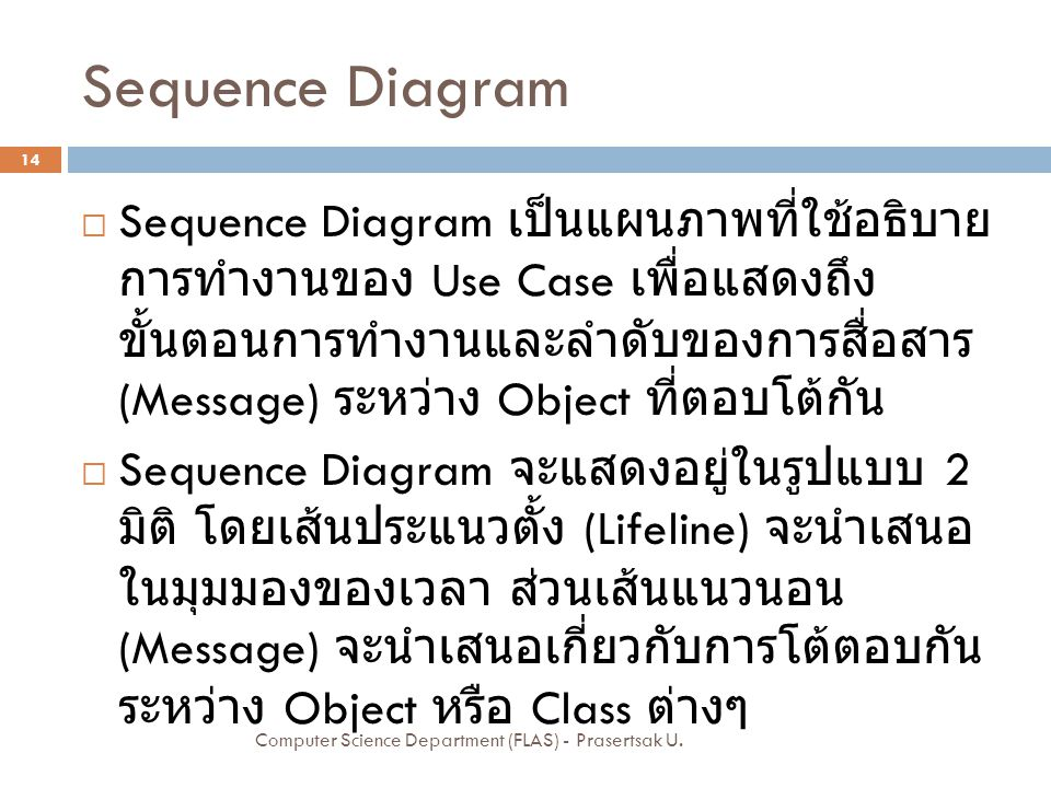 Sequence Diagram  Sequence Diagram เป็นแผนภาพที่ใช้อธิบาย การทำงานของ Use Case เพื่อแสดงถึง ขั้นตอนการทำงานและลำดับของการสื่อสาร (Message) ระหว่าง Ob