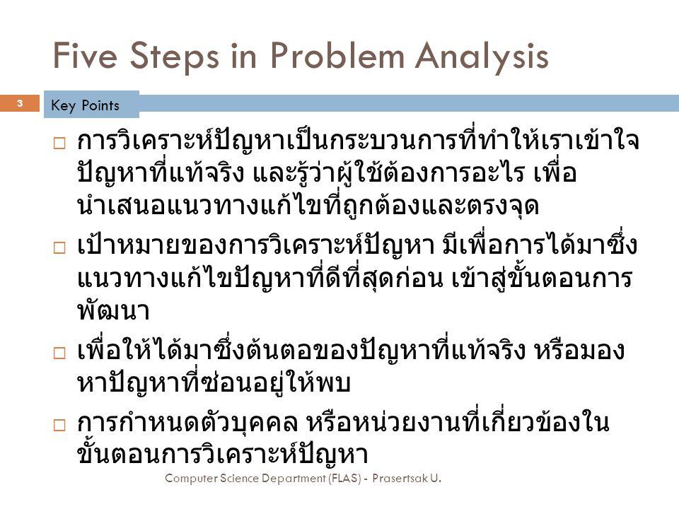 Five Steps in Problem Analysis  การวิเคราะห์ปัญหาเป็นกระบวนการที่ทำให้เราเข้าใจ ปัญหาที่แท้จริง และรู้ว่าผู้ใช้ต้องการอะไร เพื่อ นำเสนอแนวทางแก้ไขที่ถูกต้องและตรงจุด  เป้าหมายของการวิเคราะห์ปัญหา มีเพื่อการได้มาซึ่ง แนวทางแก้ไขปัญหาที่ดีที่สุดก่อน เข้าสู่ขั้นตอนการ พัฒนา  เพื่อให้ได้มาซึ่งต้นตอของปัญหาที่แท้จริง หรือมอง หาปัญหาที่ซ่อนอยู่ให้พบ  การกำหนดตัวบุคคล หรือหน่วยงานที่เกี่ยวข้องใน ขั้นตอนการวิเคราะห์ปัญหา Key Points 3 Computer Science Department (FLAS) - Prasertsak U.