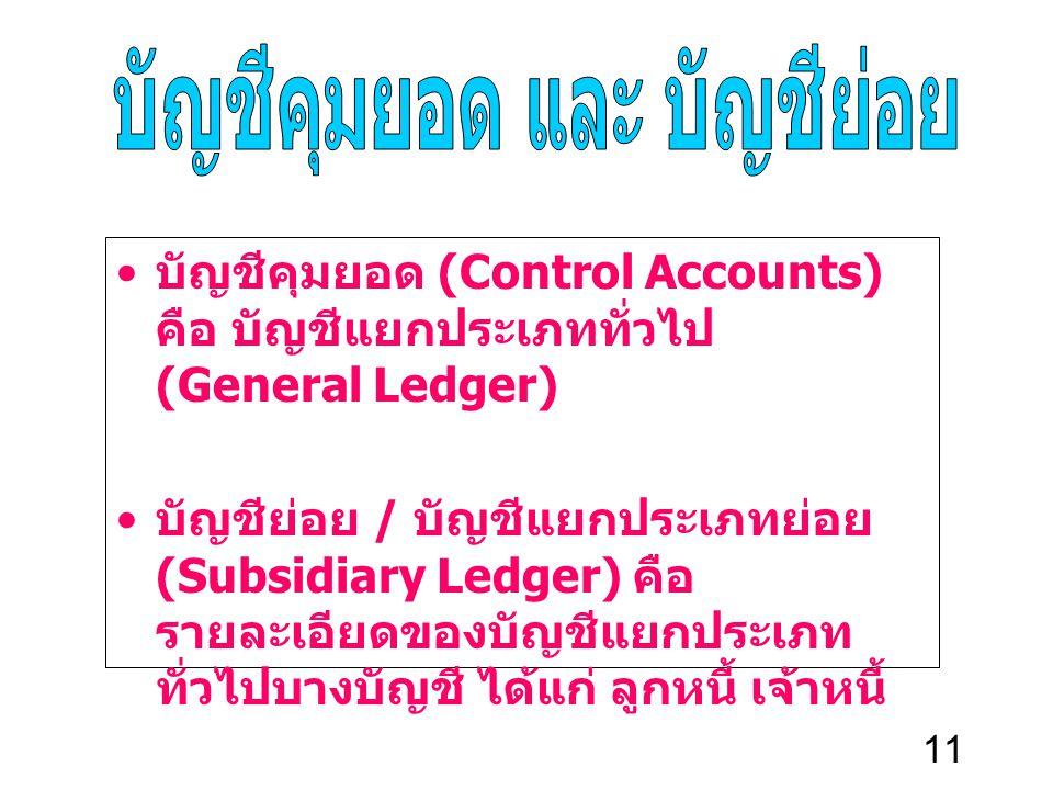 11 บัญชีคุมยอด (Control Accounts) คือ บัญชีแยกประเภททั่วไป (General Ledger) บัญชีย่อย / บัญชีแยกประเภทย่อย (Subsidiary Ledger) คือ รายละเอียดของบัญชีแ