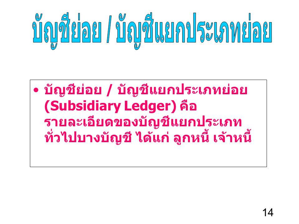 14 บัญชีย่อย / บัญชีแยกประเภทย่อย (Subsidiary Ledger) คือ รายละเอียดของบัญชีแยกประเภท ทั่วไปบางบัญชี ได้แก่ ลูกหนี้ เจ้าหนี้