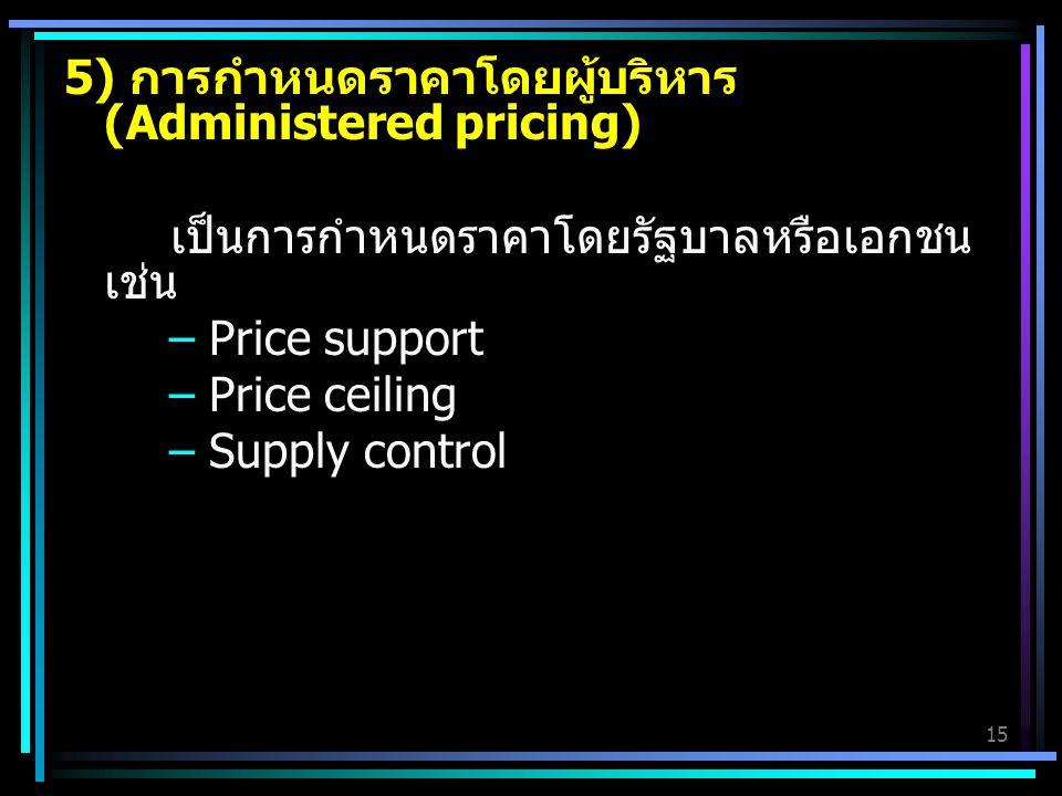 15 5) การกำหนดราคาโดยผู้บริหาร (Administered pricing) เป็นการกำหนดราคาโดยรัฐบาลหรือเอกชน เช่น – Price support – Price ceiling – Supply control