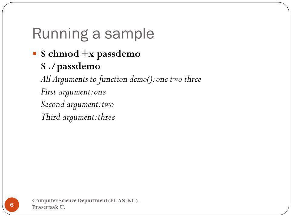 Function with parameters (3) Computer Science Department (FLAS-KU) - Prasertsak U.