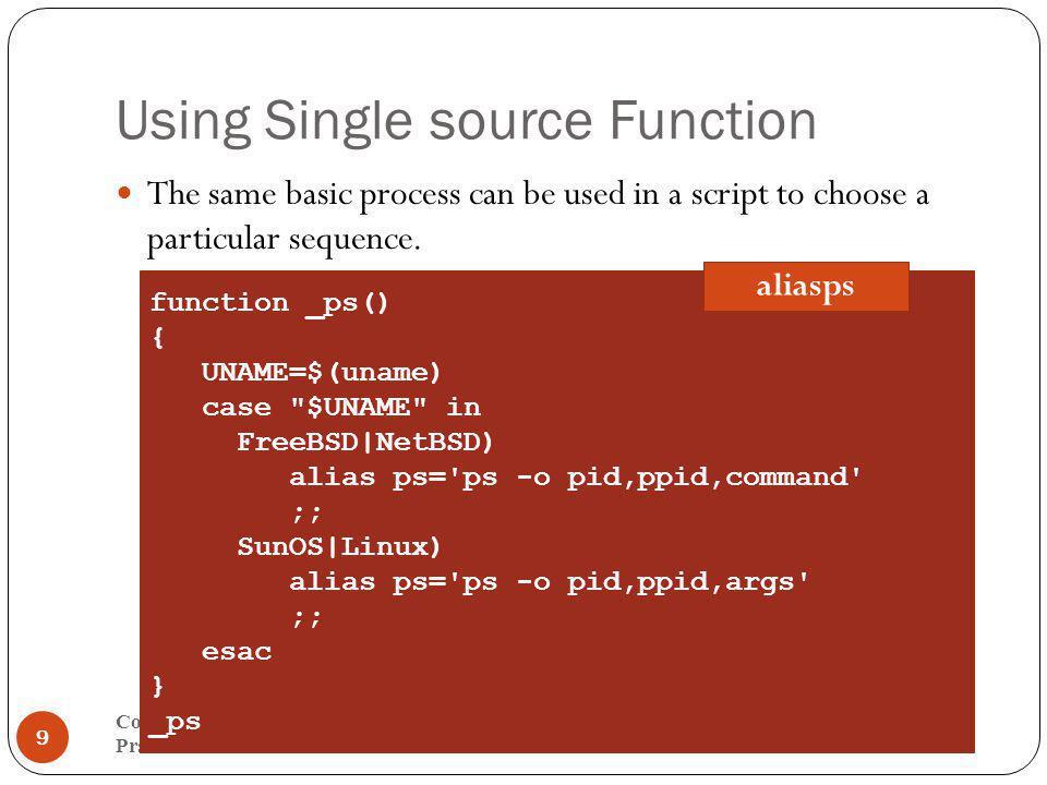 Running a sample $ chmod +x aliasps $.