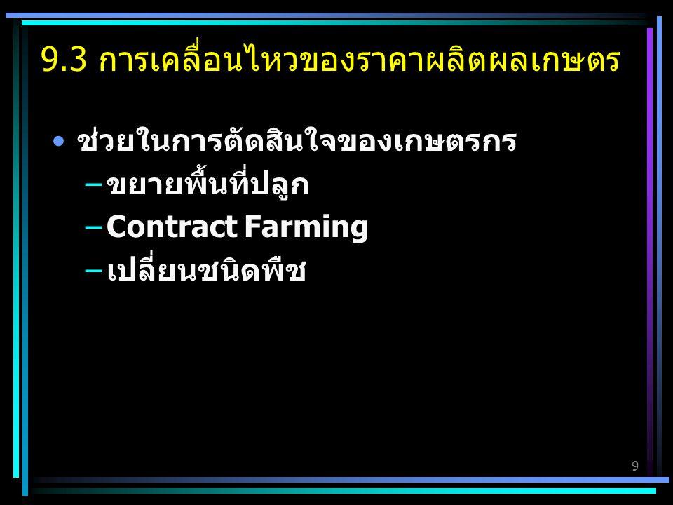 9 ช่วยในการตัดสินใจของเกษตรกร –ขยายพื้นที่ปลูก –Contract Farming –เปลี่ยนชนิดพืช 9.3 การเคลื่อนไหวของราคาผลิตผลเกษตร