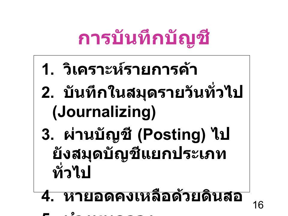 16 การบันทึกบัญชี 1. วิเคราะห์รายการค้า 2. บันทึกในสมุดรายวันทั่วไป (Journalizing) 3. ผ่านบัญชี (Posting) ไป ยังสมุดบัญชีแยกประเภท ทั่วไป 4. หายอดคงเห