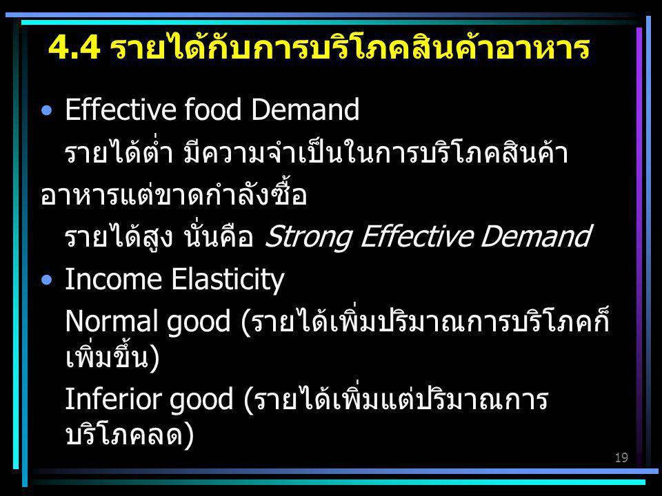 19 4.4 รายได้กับการบริโภคสินค้าอาหาร Effective food Demand รายได้ต่ำ มีความจำเป็นในการบริโภคสินค้า อาหารแต่ขาดกำลังซื้อ รายได้สูง นั่นคือ Strong Effec