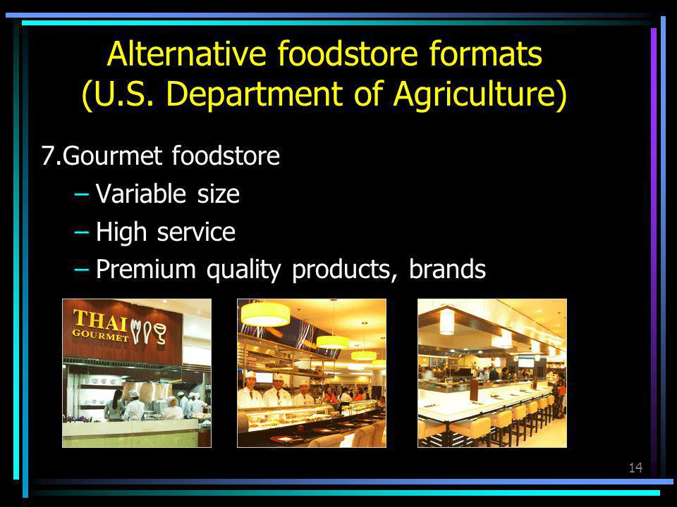 14 7.Gourmet foodstore –Variable size –High service –Premium quality products, brands Alternative foodstore formats (U.S. Department of Agriculture)