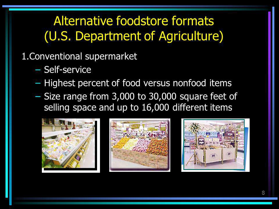 9 2.Combination food and drug store –Foodstore and drugstore under one roof –More Product variety –Nonfood items 25 to 35 percent of sales –Nonprescription drugs and general merchandise –Prescription drugs –Size range from 35,000 to 45,000 square feet Alternative foodstore formats (U.S.