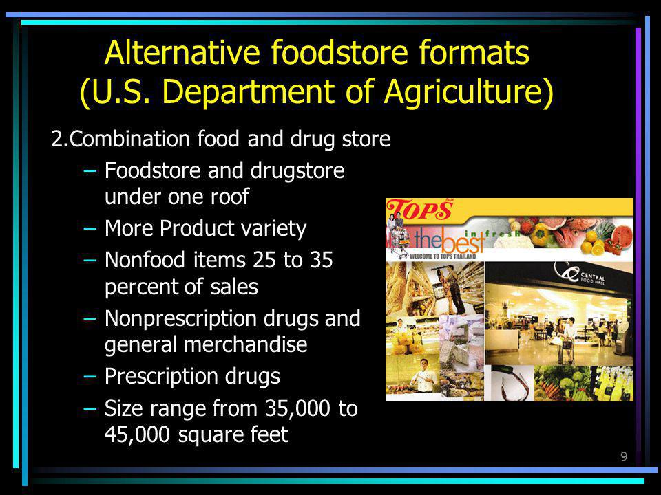 10 3.Superstore –Some prescription drugs carried –Generic and specialty product areas such as bakeries, delicatessens, cheese shops –Some self-serve bulk foods –Average size 35,000 square feet Alternative foodstore formats (U.S.