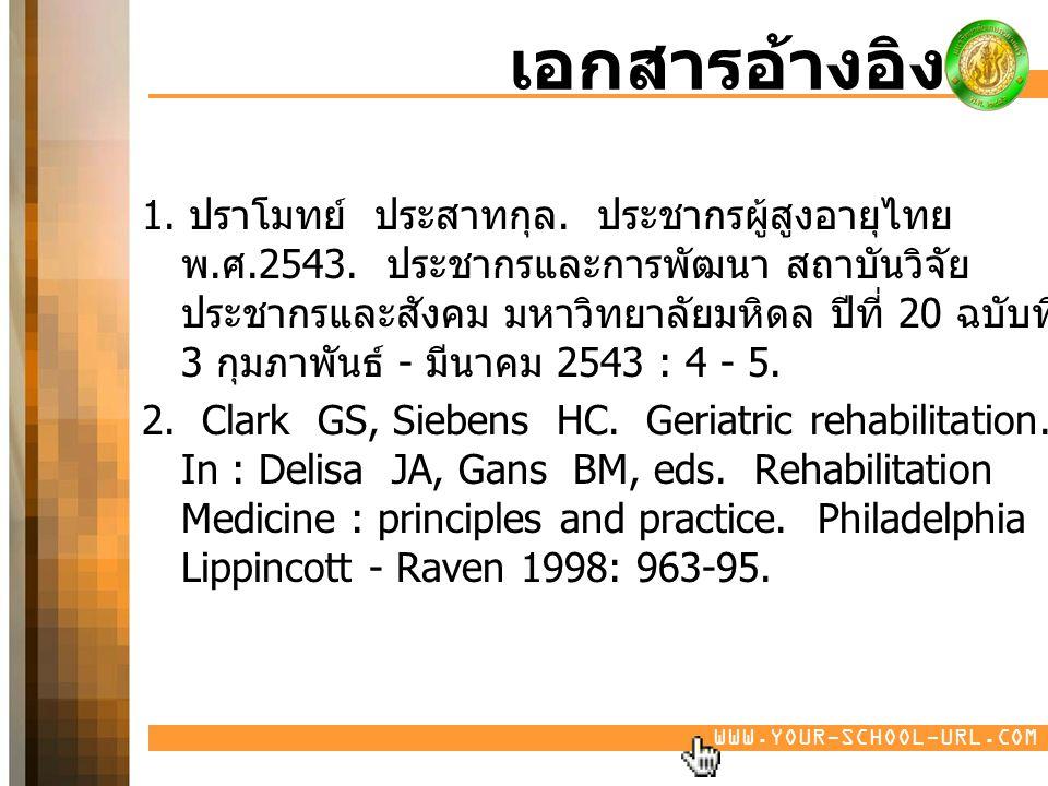 WWW.YOUR-SCHOOL-URL.COM เอกสารอ้างอิง 1. ปราโมทย์ ประสาทกุล. ประชากรผู้สูงอายุไทย พ. ศ.2543. ประชากรและการพัฒนา สถาบันวิจัย ประชากรและสังคม มหาวิทยาลั