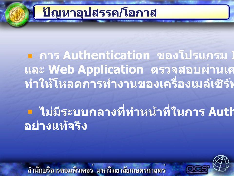 การ Authentication ของโปรแกรม Internet Application และ Web Application ตรวจสอบผ่านเครื่องเมล์เซิร์ฟเวอร์ ทำให้โหลดการทำงานของเครื่องเมล์เซิร์ฟเวอร์เพิ