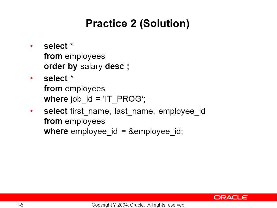 1-16 Copyright © 2004, Oracle.All rights reserved.