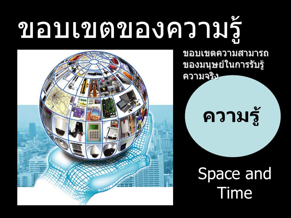 ขอบเขตของความรู้ ความรู้ Space and Time ขอบเขตความสามารถ ของมนุษย์ในการรับรู้ ความจริง