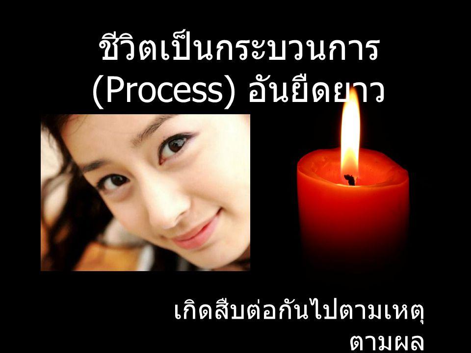 ชีวิตเป็นกระบวนการ (Process) อันยืดยาว เกิดสืบต่อกันไปตามเหตุ ตามผล