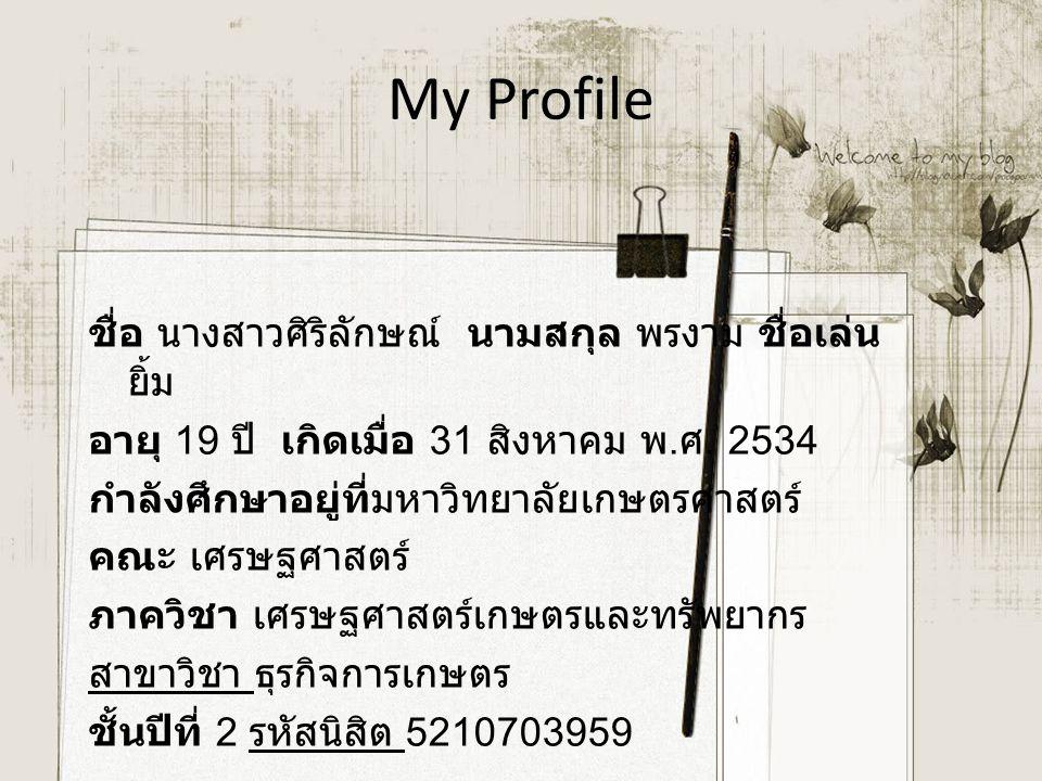 ชื่อ นางสาวศิริลักษณ์ นามสกุล พรงาม ชื่อเล่น ยิ้ม อายุ 19 ปี เกิดเมื่อ 31 สิงหาคม พ. ศ. 2534 กำลังศึกษาอยู่ที่มหาวิทยาลัยเกษตรศาสตร์ คณะ เศรษฐศาสตร์ ภ