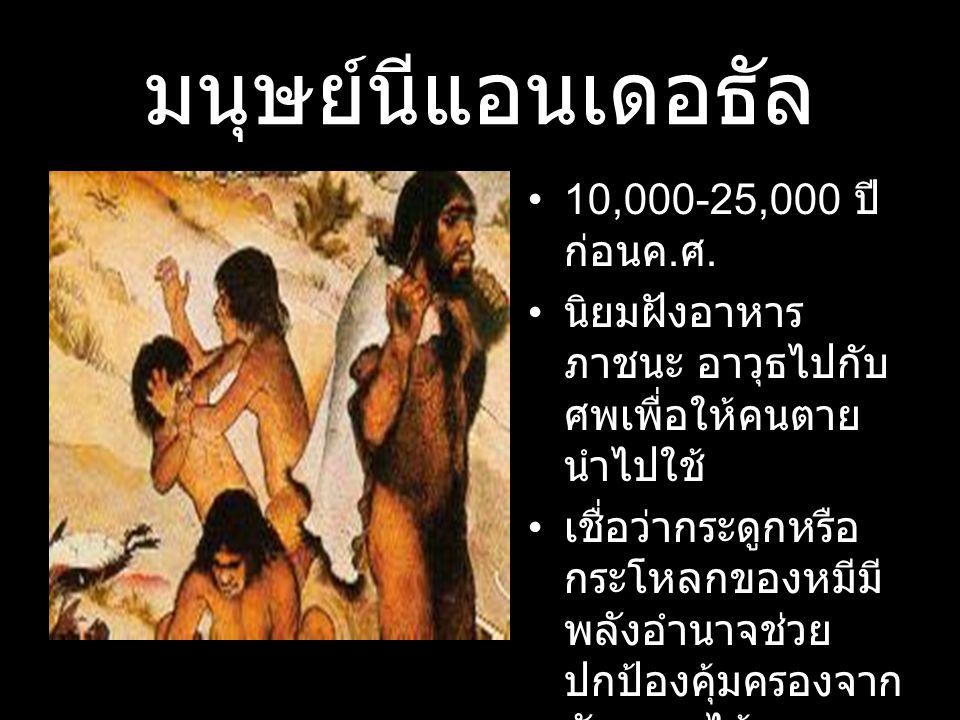 มนุษย์นีแอนเดอธัล 10,000-25,000 ปี ก่อนค. ศ. นิยมฝังอาหาร ภาชนะ อาวุธไปกับ ศพเพื่อให้คนตาย นำไปใช้ เชื่อว่ากระดูกหรือ กระโหลกของหมีมี พลังอำนาจช่วย ปก