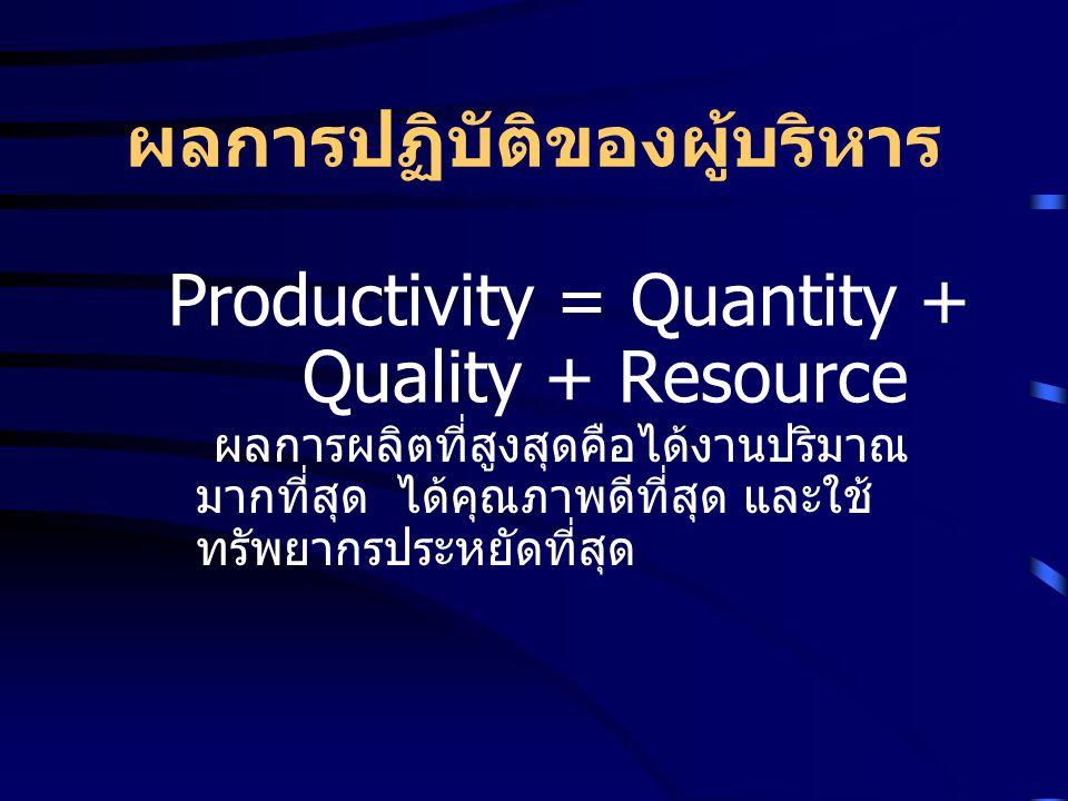 ผลการปฏิบัติของผู้บริหาร Productivity = Quantity + Quality + Resource ผลการผลิตที่สูงสุดคือได้งานปริมาณ มากที่สุด ได้คุณภาพดีที่สุด และใช้ ทรัพยากรประ