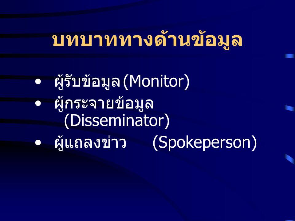 บทบาททางด้านข้อมูล ผู้รับข้อมูล (Monitor) ผู้กระจายข้อมูล (Disseminator) ผู้แถลงข่าว (Spokeperson)