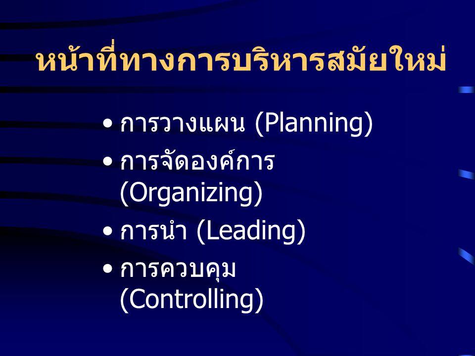 หน้าที่ทางการบริหารสมัยใหม่ การวางแผน (Planning) การจัดองค์การ (Organizing) การนำ (Leading) การควบคุม (Controlling)