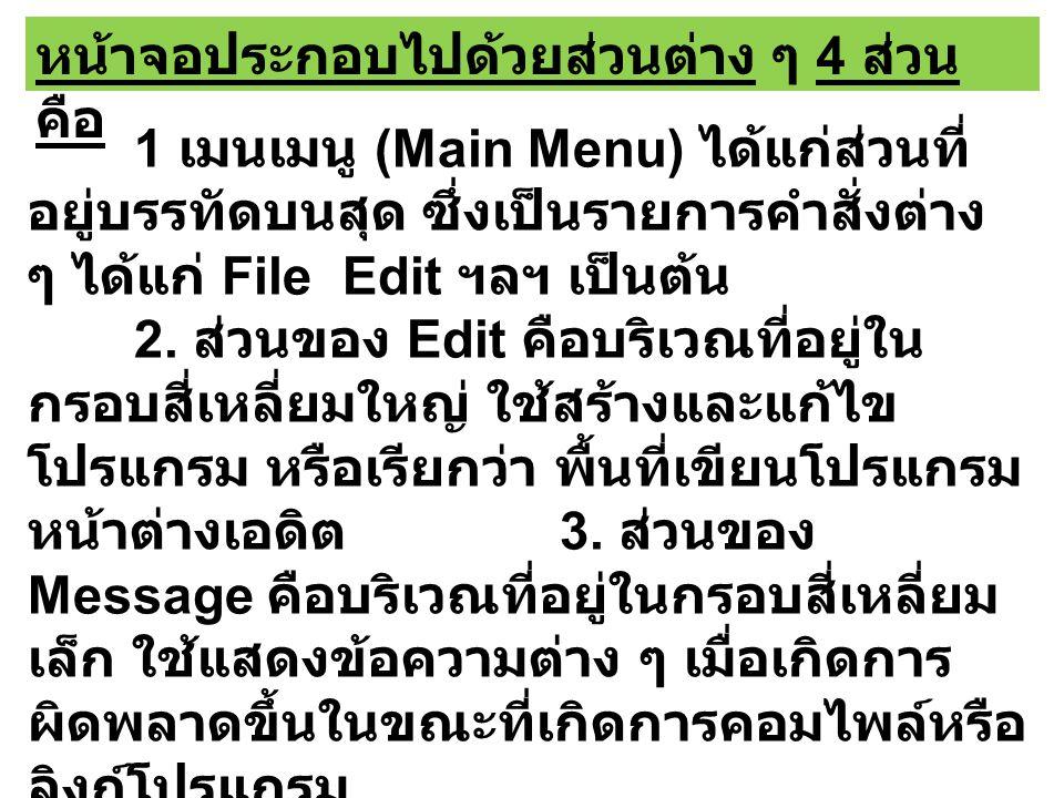 หน้าจอประกอบไปด้วยส่วนต่าง ๆ 4 ส่วน คือ 1 เมนเมนู (Main Menu) ได้แก่ส่วนที่ อยู่บรรทัดบนสุด ซึ่งเป็นรายการคำสั่งต่าง ๆ ได้แก่ File Edit ฯลฯ เป็นต้น 2.