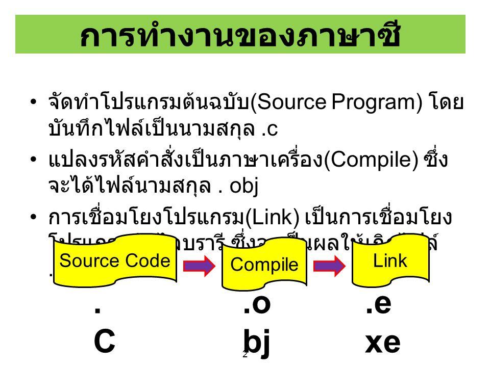 3 กระบวนการแปลรหัสของภาษาซี เขียนคำสั่ง CompileLink Run Test.cTest.objTest.ilk Test.exe