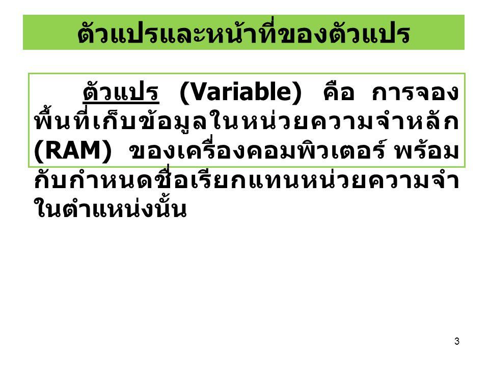 3 ตัวแปรและหน้าที่ของตัวแปร ตัวแปร (Variable) คือ การจอง พื้นที่เก็บข้อมูลในหน่วยความจำหลัก (RAM) ของเครื่องคอมพิวเตอร์ พร้อม กับกำหนดชื่อเรียกแทนหน่ว