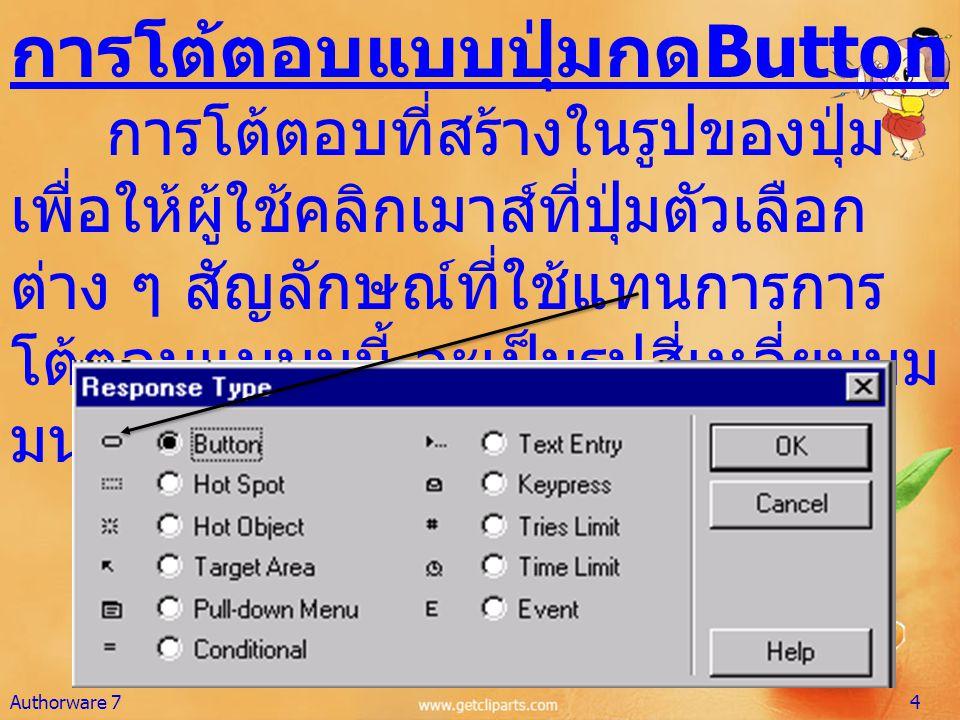 การโต้ตอบแบบปุ่มกด Button การโต้ตอบที่สร้างในรูปของปุ่ม เพื่อให้ผู้ใช้คลิกเมาส์ที่ปุ่มตัวเลือก ต่าง ๆ สัญลักษณ์ที่ใช้แทนการการ โต้ตอบแบบนนี้ จะเป็นรูป