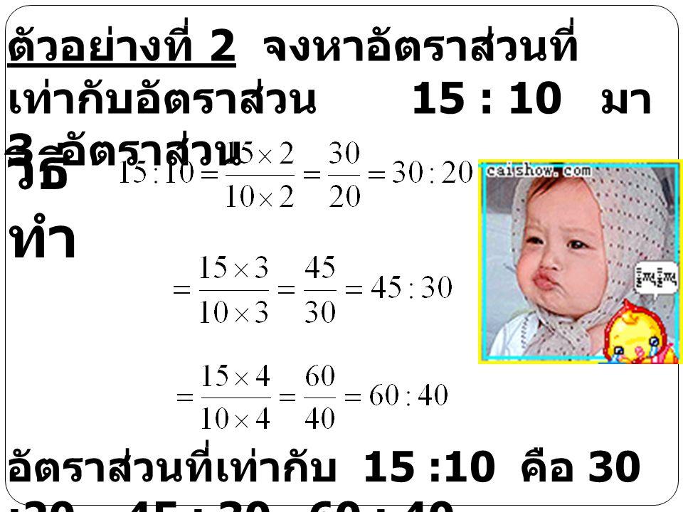 การทำอัตราส่วนที่เท่ากับ อัตราส่วนที่กำหนดมาให้ ตัวอย่างที่ 1 จงหาอัตราส่วนที่ เท่ากับอัตราส่วน 4 : 5 มา 3 อัตราส่วน วิธี ทำ อัตราส่วนที่เท่ากับ 4 :5 คือ 8 :10, 12 : 15, 16 : 20