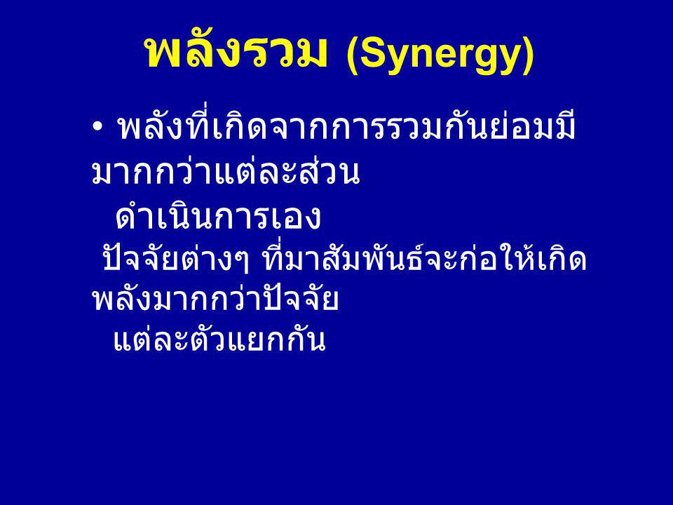 พลังรวม (Synergy) พลังที่เกิดจากการรวมกันย่อมมี มากกว่าแต่ละส่วน ดำเนินการเอง ปัจจัยต่างๆ ที่มาสัมพันธ์จะก่อให้เกิด พลังมากกว่าปัจจัย แต่ละตัวแยกกัน