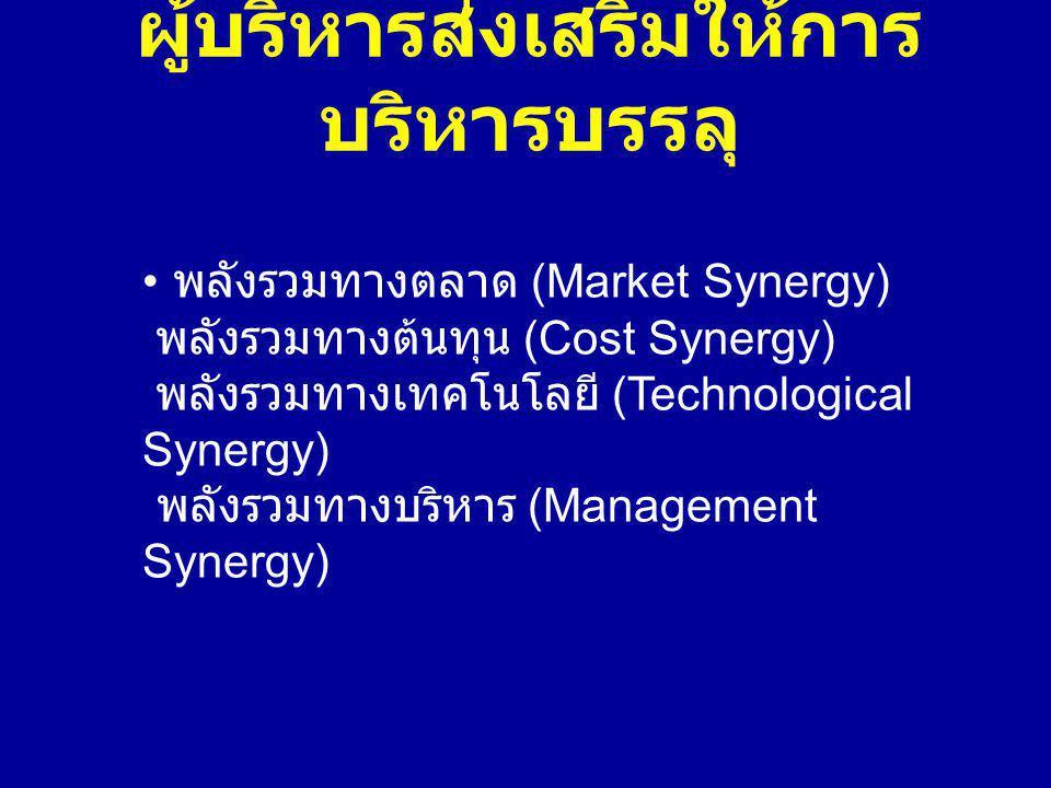 ผู้บริหารส่งเสริมให้การ บริหารบรรลุ พลังรวมทางตลาด (Market Synergy) พลังรวมทางต้นทุน (Cost Synergy) พลังรวมทางเทคโนโลยี (Technological Synergy) พลังรวมทางบริหาร (Management Synergy)
