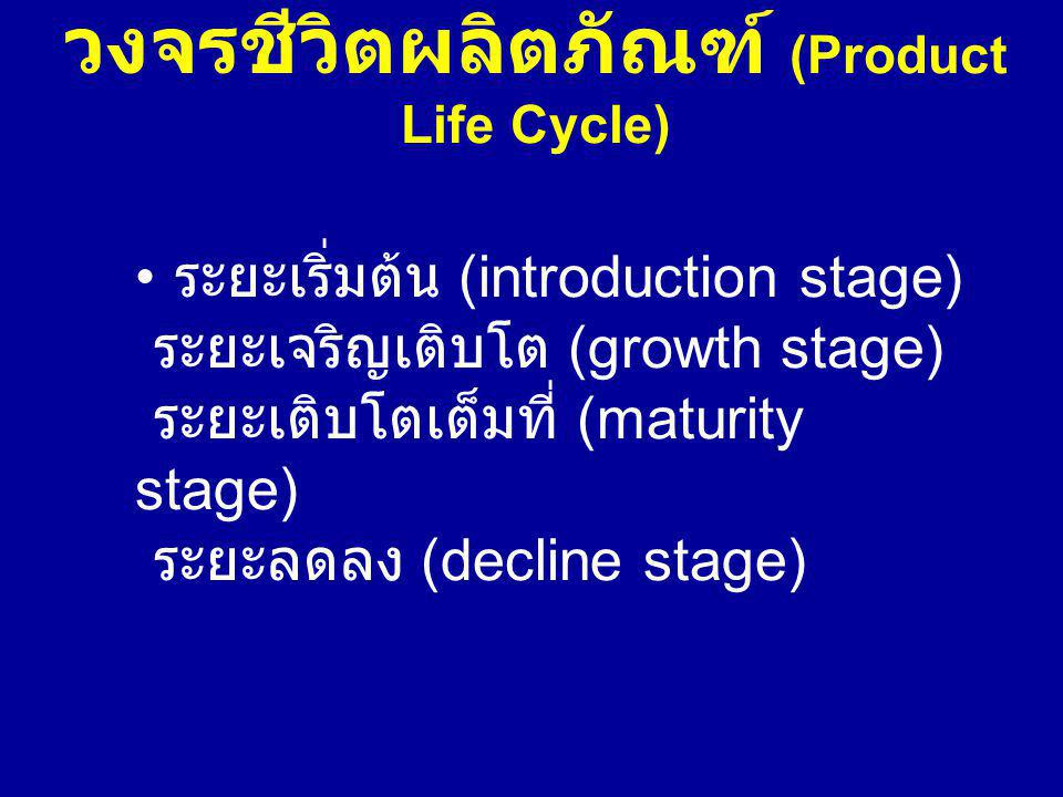 วงจรชีวิตผลิตภัณฑ์ (Product Life Cycle) ระยะเริ่มต้น (introduction stage) ระยะเจริญเติบโต (growth stage) ระยะเติบโตเต็มที่ (maturity stage) ระยะลดลง (decline stage)