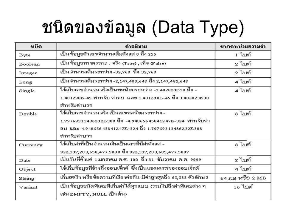 ชนิดของข้อมูล (Data Type)