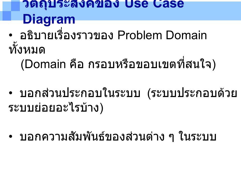 วัตถุประสงค์ของ Use Case Diagram อธิบายเรื่องราวของ Problem Domain ทั้งหมด (Domain คือ กรอบหรือขอบเขตที่สนใจ ) บอกส่วนประกอบในระบบ ( ระบบประกอบด้วย ระ