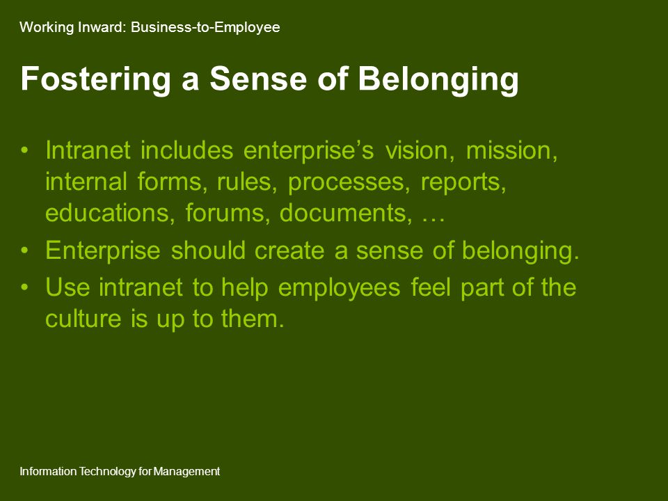 Information Technology for Management Fostering a Sense of Belonging Intranet includes enterprise's vision, mission, internal forms, rules, processes, reports, educations, forums, documents, … Enterprise should create a sense of belonging.