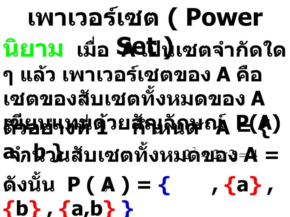 ตัวอย่างที่ 2 กำหนด B = { 1, 2, 3, 4} จำนวนสับเซตทั้งหมดของ B = ดังนั้น P ( B ) = {, {1}, {2}, {3}, {4}, {1,2}, {1,3}, {1,4}, {2,3}, {2,4}, {3,4}, {1,2,3},{1,2,4}, {1,3,4}, {2,3,4}, {1,2,3,4} } ตัวอย่างที่ 3 กำหนด C = { {{a}}, {b}, {{c}} } จำนวนสับเซตทั้งหมดของ A = ดังนั้น P ( C ) = {, { {{a}} }, { {b} }, { {{c}} }, { {{a}}, {b} }, { {{a}}, {{c}} }, { {b}, {{c}} }, { {{a}}, {b}, {{c}} } }