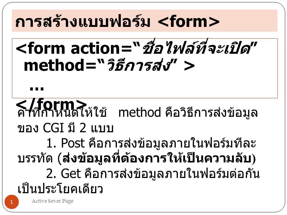 Active Sever Page 1 การสร้างแบบฟอร์ม … ค่าที่กำหนดให้ใช้ method คือวิธีการส่งข้อมูล ของ CGI มี 2 แบบ 1. Post คือการส่งข้อมูลภายในฟอร์มทีละ บรรทัด ( ส่