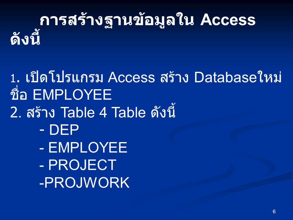 6 การสร้างฐานข้อมูลใน Access ดังนี้ 1.เปิดโปรแกรม Access สร้าง Database ใหม่ ชื่อ EMPLOYEE 2.