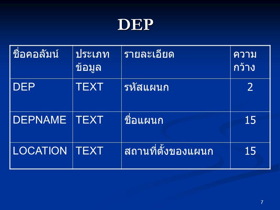 7 DEP ชื่อคอลัมน์ประเภท ข้อมูล รายละเอียดความ กว้าง DEPTEXT รหัสแผนก 2 DEPNAMETEXT ชื่อแผนก 15 LOCATIONTEXT สถานที่ตั้งของแผนก 15