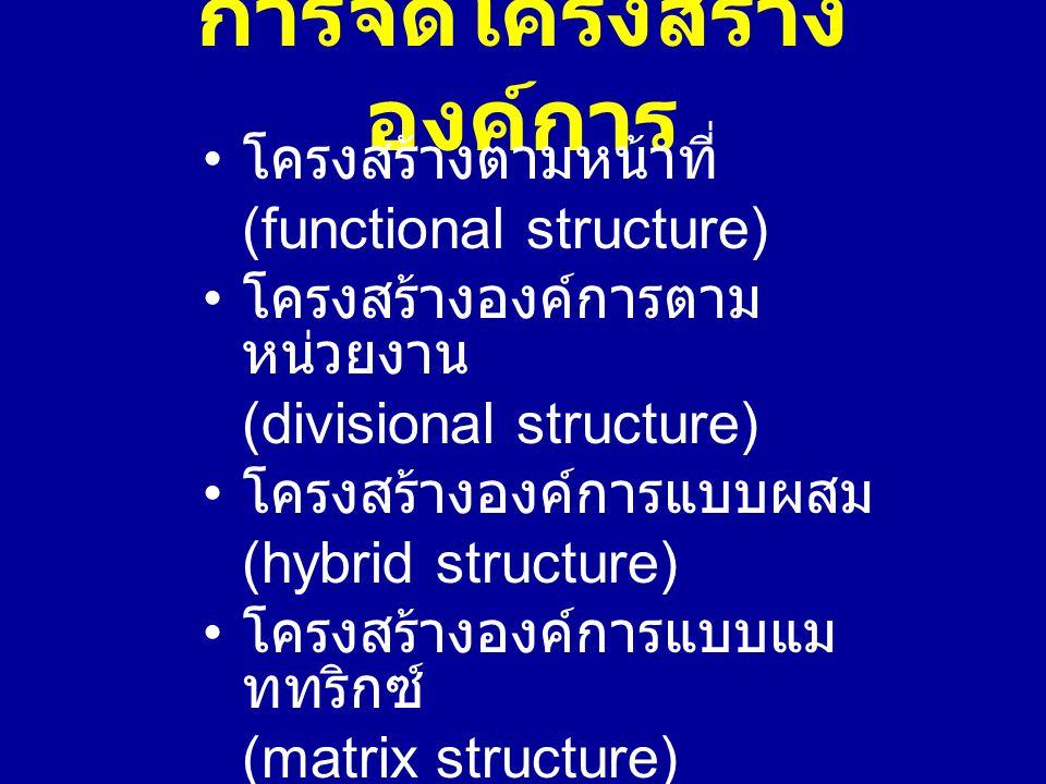 การจัดโครงสร้าง องค์การ โครงสร้างตามหน้าที่ (functional structure) โครงสร้างองค์การตาม หน่วยงาน (divisional structure) โครงสร้างองค์การแบบผสม (hybrid