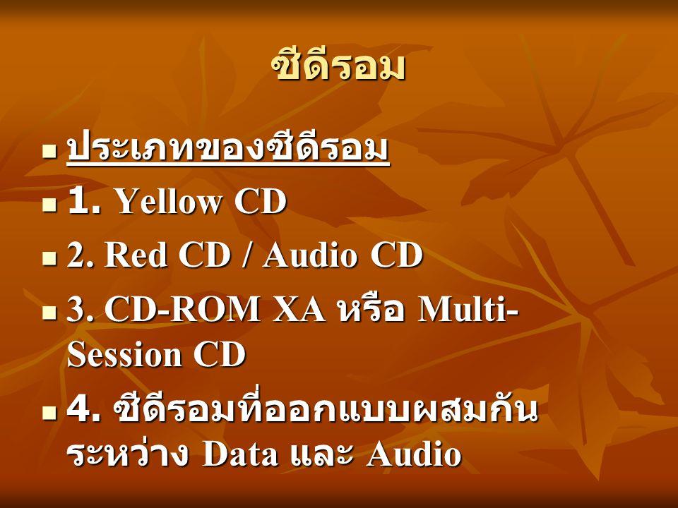 ซีดีรอม ประเภทของซีดีรอม ประเภทของซีดีรอม 1. Yellow CD 1. Yellow CD 2. Red CD / Audio CD 2. Red CD / Audio CD 3. CD-ROM XA หรือ Multi- Session CD 3. C