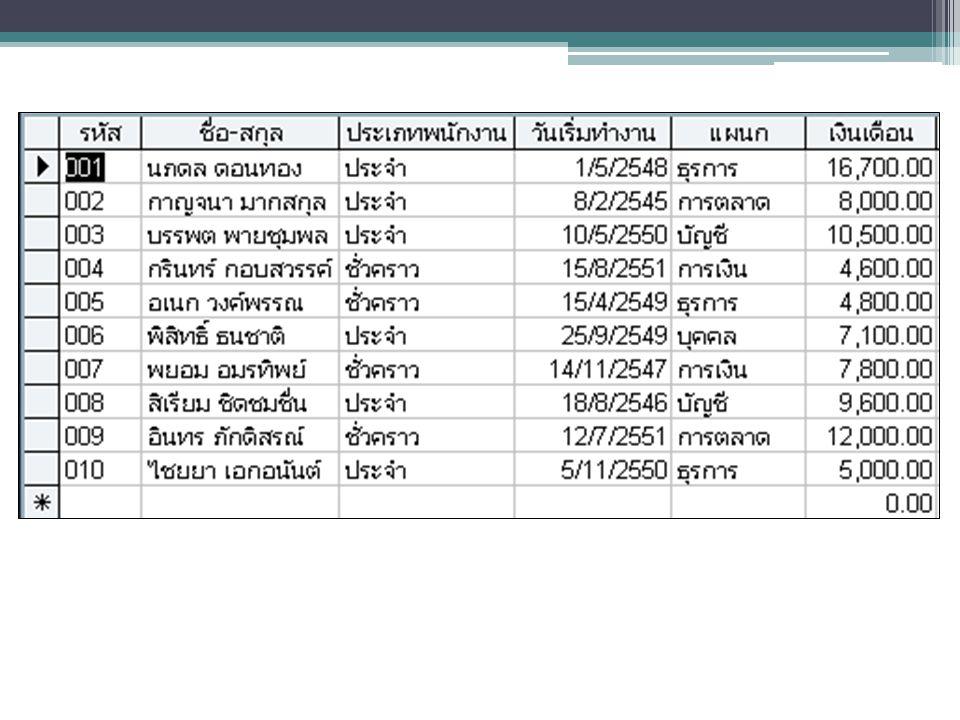 2. สร้างตาราง (Table)
