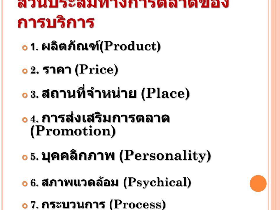 ส่วนประสมทางการตลาดของ การบริการ 1. ผลิตภัณฑ์ (Product) 2. ราคา (Price) 3. สถานที่จำหน่าย (Place) 4. การส่งเสริมการตลาด (Promotion) 5. บุคคลิกภาพ (Per